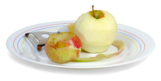 Peeled apple1 Royalty Free Stock Images