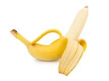 Peeled banan. Isolated on white background royalty free stock images