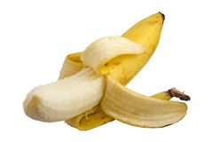 Peeled banana. Isolated on white with clipping path Stock Image