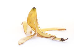 Peeled banana. Detail of an isolated and peeled banana on a white background Stock Image