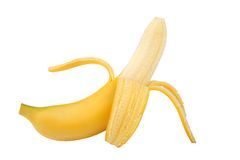 Peeled banana. On white background Royalty Free Stock Photo