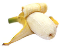 Peeled banana fruit with selective focus Royalty Free Stock Image