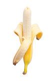 Peeled banana half Stock Photo