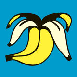 Peeled banana  illustration Royalty Free Stock Images