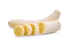 Peeled banana isolated on white. Background stock photos