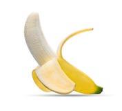 Peeled banana isolated on white. Background Stock Photography