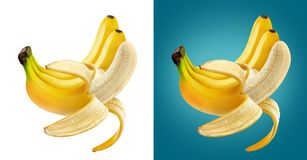 Peeled banana isolated on white background with clipping path. One open peeled banana isolated on white background with clipping path royalty free stock photography