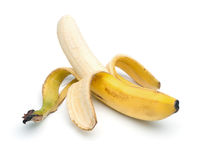 Peeled Banana,  on white Stock Photos