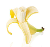 Peeled banana on white background Royalty Free Stock Photos