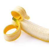 Peeled banana on white background Royalty Free Stock Photo
