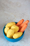 Peeled carrots and potatoes Royalty Free Stock Photography