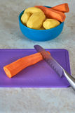 Peeled carrots and potatoes Stock Image