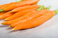 Peeled carrots with stems Royalty Free Stock Images