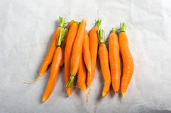 Peeled carrots with stems Stock Images