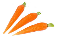 Peeled carrots on white Royalty Free Stock Photography