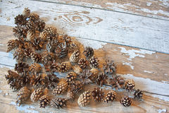Peeled cedar nuts in a jar on the old wooden table against the background of cones. Royalty Free Stock Images