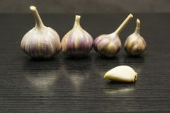 Peeled clove of garlic. Peeled clove of garlic on the background of whole bulbs Royalty Free Stock Images
