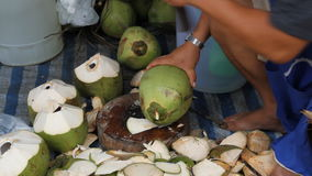 Peeled coconut stock video