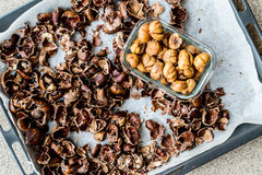 Peeled and crust Chestnuts on tray Royalty Free Stock Image