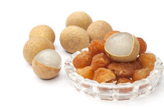 Peeled and dry longan fruit isolated Stock Photography