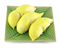 Peeled durian on green plate Stock Photography