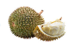 Peeled durian isolated on white background. Royalty Free Stock Images