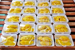 Peeled durian at the street market Royalty Free Stock Photos