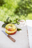 Peeled fresh healthy apple with a paring knife Royalty Free Stock Image