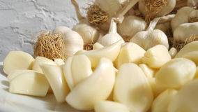 Peeled garlic. Close up Royalty Free Stock Images