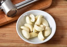 Peeled garlic. Fresh peeled organic garlic cloves in a small bowl with a garlic press.  High angle view Stock Photography