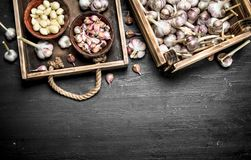 Peeled garlic in an old wooden tray. On a black chalkboard Stock Photo