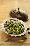 Peeled green pistachio nuts Royalty Free Stock Image