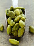 Peeled green pistachio nuts Stock Photography