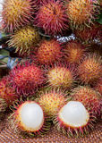 Peeled Hairy Fruit Rambutan Indonesia Stock Images