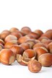 Peeled hazelnut among unpeeled, isolated on white Stock Photos
