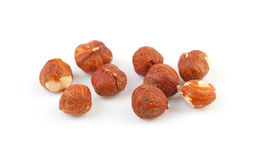 Peeled hazelnuts. Some peeled hazelnuts isolated on white background royalty free stock photography