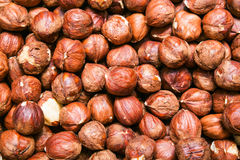 Peeled hazelnuts, cobnuts background Stock Photo