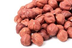 Peeled hazelnuts isolated on white background macro Royalty Free Stock Images
