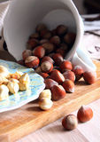 Peeled hazelnuts on a plate Royalty Free Stock Photo