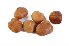 Peeled hazelnuts  on white Royalty Free Stock Photos