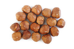 Peeled hazelnuts on white background Royalty Free Stock Photos