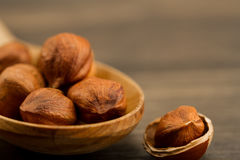 Peeled hazelnuts in wooden spoon Stock Photography