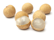 Peeled longan fruit isolated Stock Photos