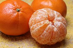 Peeled mandarin Royalty Free Stock Images