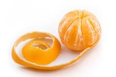 Peeled mandarin fruit Stock Photos