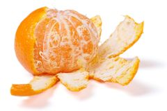 Peeled mandarin isolated on white background. Royalty Free Stock Photo