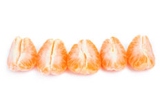 Peeled mandarin and slices isolated on white background Stock Photo
