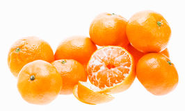 Peeled Mandarin Tangerine Orange Fruit Isolated On White Backgro Royalty Free Stock Photo