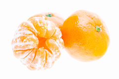 Peeled Mandarin Tangerine Orange Fruit Isolated On White Backgro Stock Images