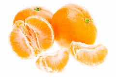 Peeled Mandarin Tangerine Orange Fruit Isolated On White Backgro Stock Photo
